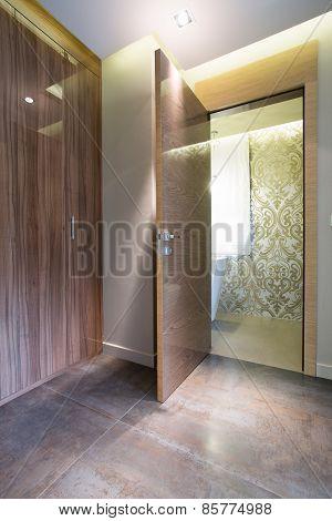 Wooden Door In Living Room