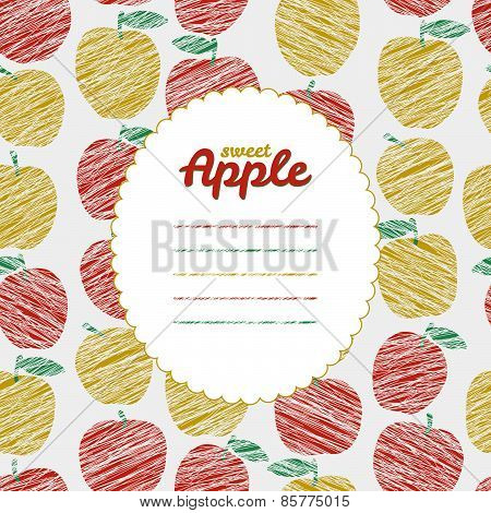 Text frame. Endless apple texture, repeating fruit background. Autumn harvest backdrop.