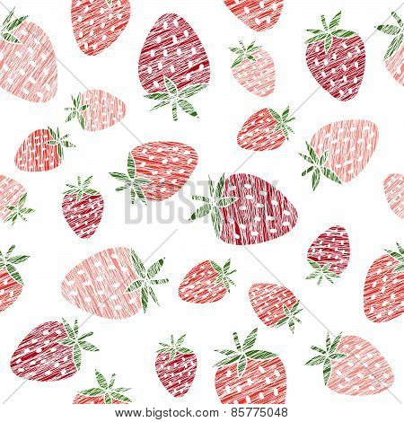 Endless strawberry texture, seamless berry background. Abstract fruit ornament.