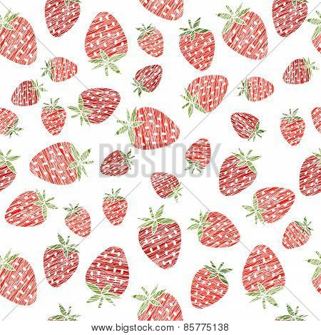 Seamless strawberry texture, endless berry background. Abstract fruit ornament.