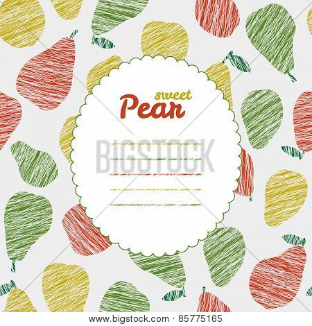 Text frame. Repeating pear background, seamless fruit texture. Summer harvest backdrop.
