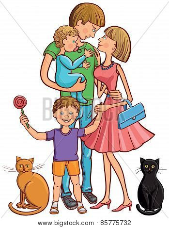 Happy Family With Cats.