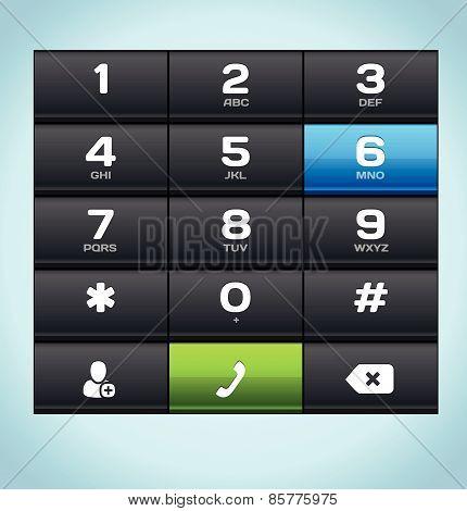 Black Number Phone Keypad