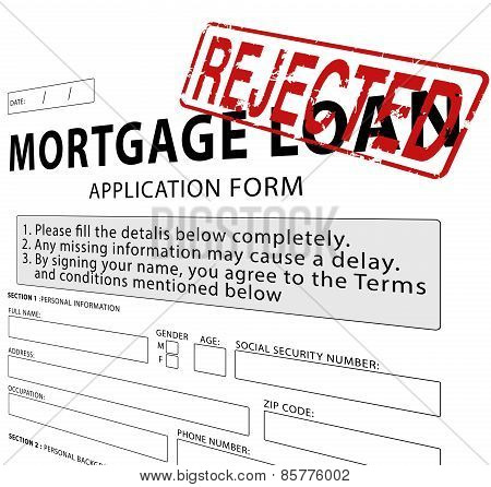 Mortgage loan application form with Rejected rubber stamp
