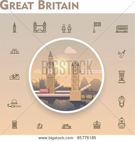 United Kingdom travel icon set
