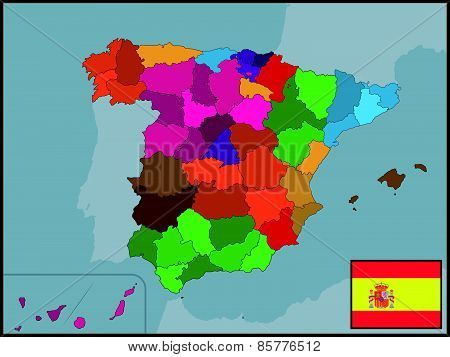 Autonomous Communities of Spain with Flag and Badge