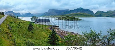 Summer Cloudy Sea Coast Panorama (norway, Lofoten).