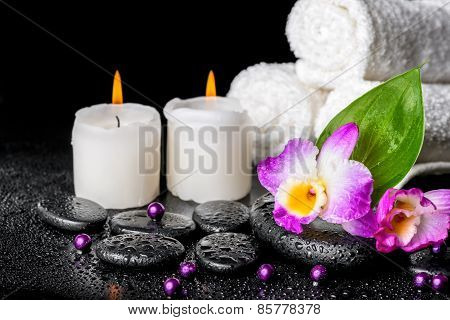 Spa Background Of Orchid Dendrobium, Green Leaf Calla Lily, Candles, Towels And Beads On Zen Stones