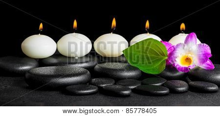 Spa Still Life Of Row White Candles, Orchid Flower Dendrobium And Green Leaf On Black Zen Stones Bac