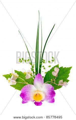 Exotic Flowers Bouquet Is Isolated On White Background