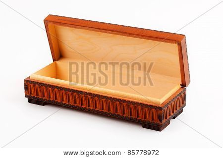 Wooden decorative casket - opened