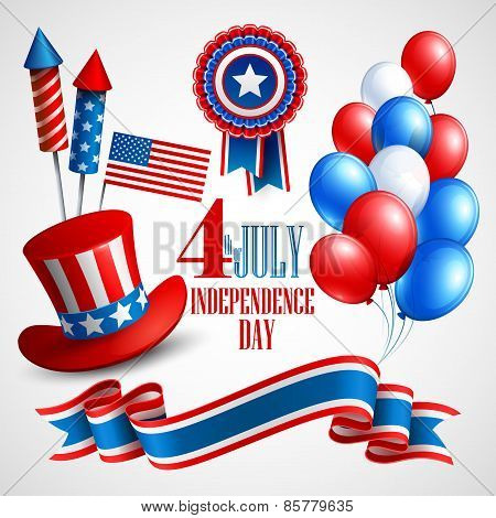 Independence Day holiday symbols. Vector illustration