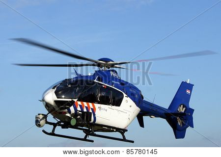 Dutch police helicopter in flight  - Euro Copter