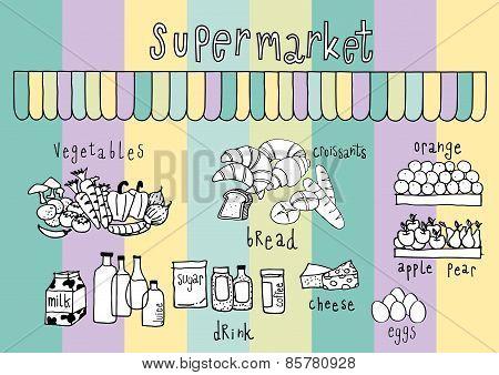 Supermarket  Doodle Colorful Pastel Background