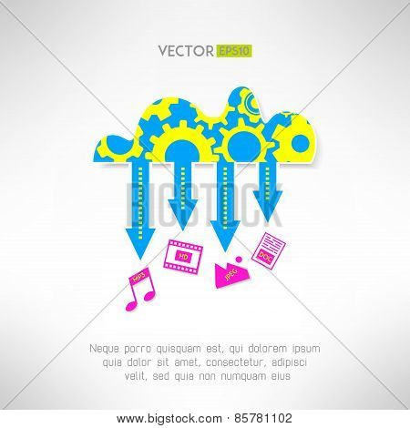 Cloud service icon with multimedia. Network technology and remote media storage concept. Vector illu