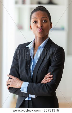 Portrait Of A Young African American Business Woman Joking  - Black People
