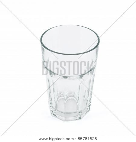 Drinking glass cup over white background