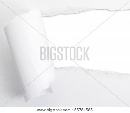 Torn paper sheet with an empty gap hole