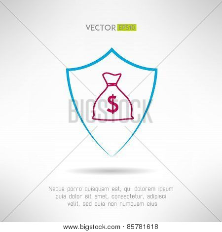 Money bag in a shield icon. Deposit safety concept symbol. Vector illustration
