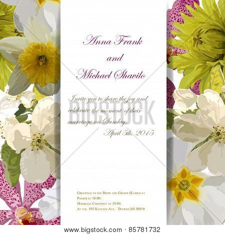 Floral invitation card with beautiful spring flowers and banner style. Perfect for wedding, greeting