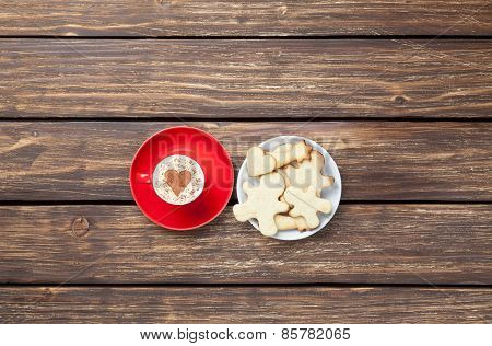 Cup Of Cappuccino With Heart Shape And Cookies