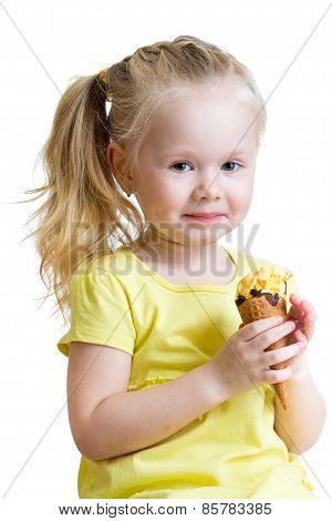 happy kid girl eating ice cream isolated