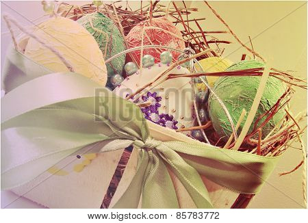 Eggs in a basket with hay Easter Europe and North America