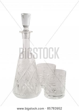 Crystal glass decanter vessel with tumbler