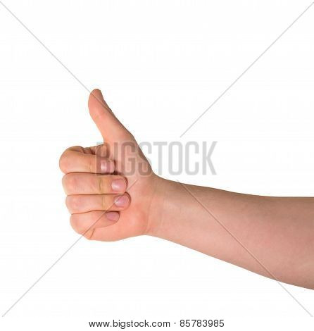 Thumbs up hand gesture isolated