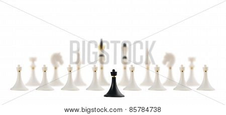 Black chess pawn opposite to white ones