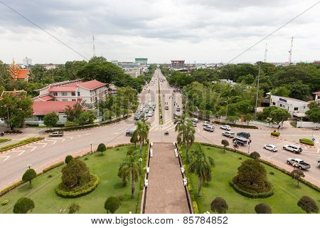 Aerial view of the Vientiane city