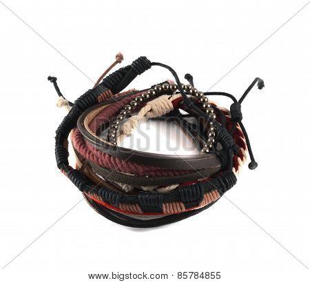 Pile of a friendship handmade bracelet