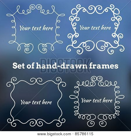 Set of hand-drawn vintage frames