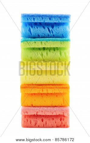 Pile of kitchen sponges