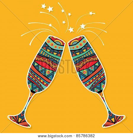 Two Ornate Glasses Celebration Card