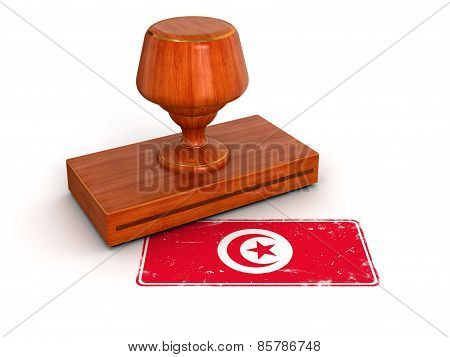 Rubber Stamp Tunisian flag (clipping path included)