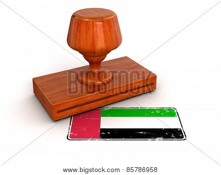 Rubber Stamp United Arab Emirates flag (clipping path included)