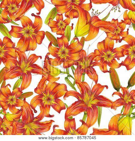 Pattern of orange lilies