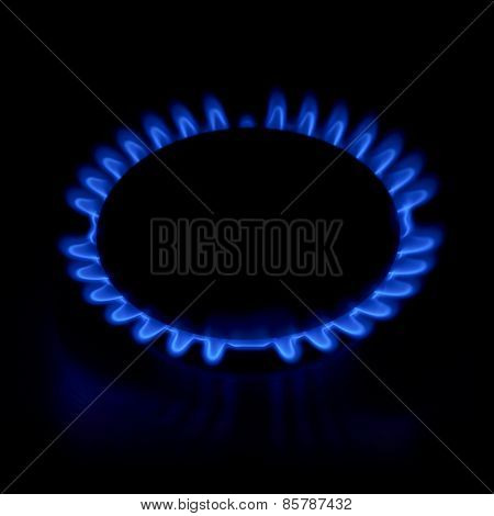 Gas stove as a blue fire