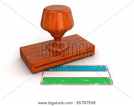 Rubber Stamp Uzbek flag (clipping path included)