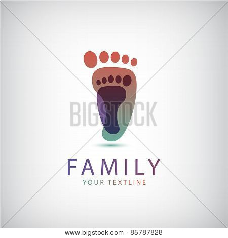 vector family, 2 footprints icon
