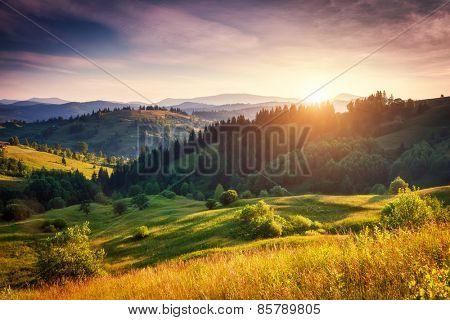 Beautiful green hills glowing by sunlight at twilight. Dramatic scene. Colorful sky. Carpathian, Ukraine, Europe. Beauty world.