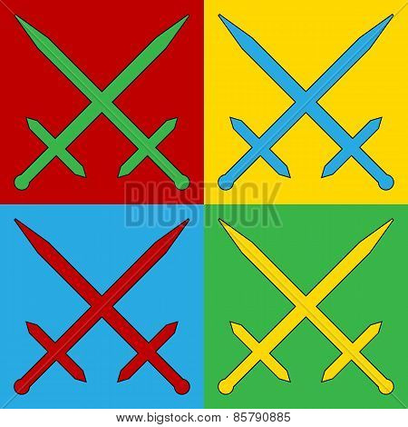 Pop Art Crossed Swords Symbol Icons.