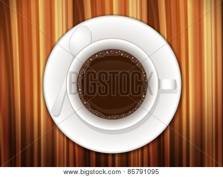 Coffee Cup On Wooden Desk