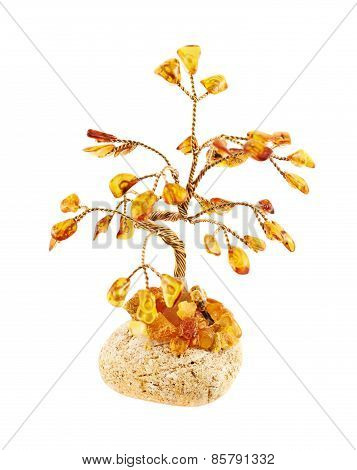 Tree statuette made of amber