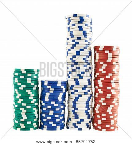 Casino playing chips stacks isolated