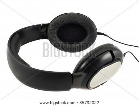 Black headphones set with a wire