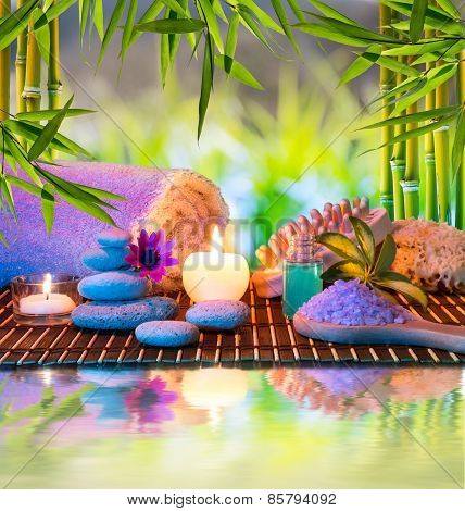stones, salts, massage sponge, candle - with bamboo