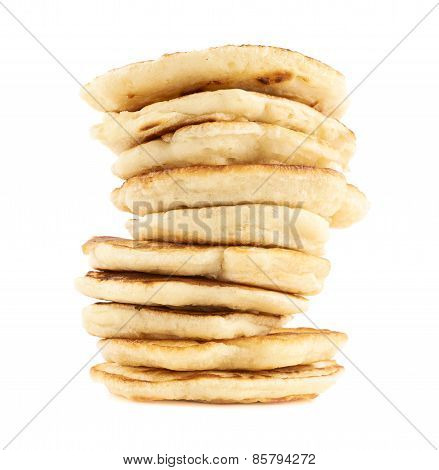 Stack of pancakes isolated