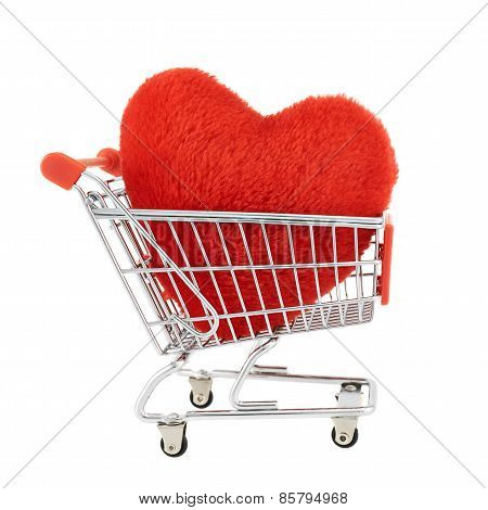 Plush toy heart in a shopping cart